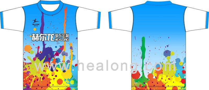 Custom full color printing sublimation tshirt sample on for Custom full color t shirt printing