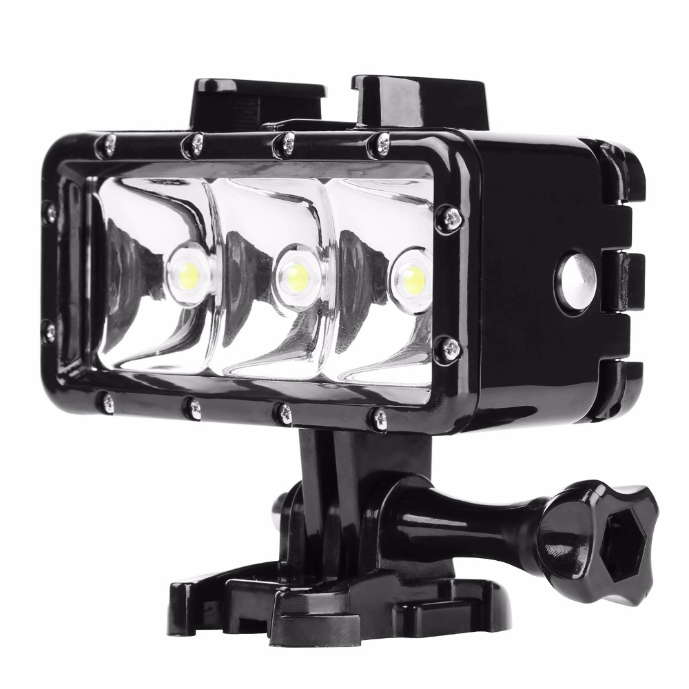 Waterproof Dimmable LED Video POV Flash Fill Night Light for GoPro Xiaoyi (Black)