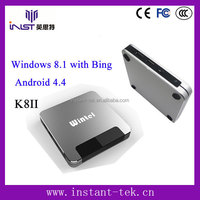 INST High Quality Wintel W8 window tv box with 2G/32G Android 4.4 & Windows8.1 dual system dvb-c android tv box