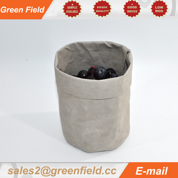 Custom design washable Kraft paper bag, washable paper bag for storage