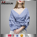 2017 Fashion Design Puff Sleeve Wrapped Top Off Shoulder Blouse Deeper V Neck Ruched Sleeve Wrap Blouses In Blue