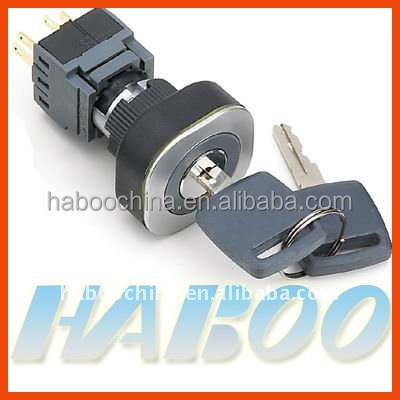 HBC16/22 series electrical key switch ultrathin 2/3 positions waterproof key switch momentary / latching