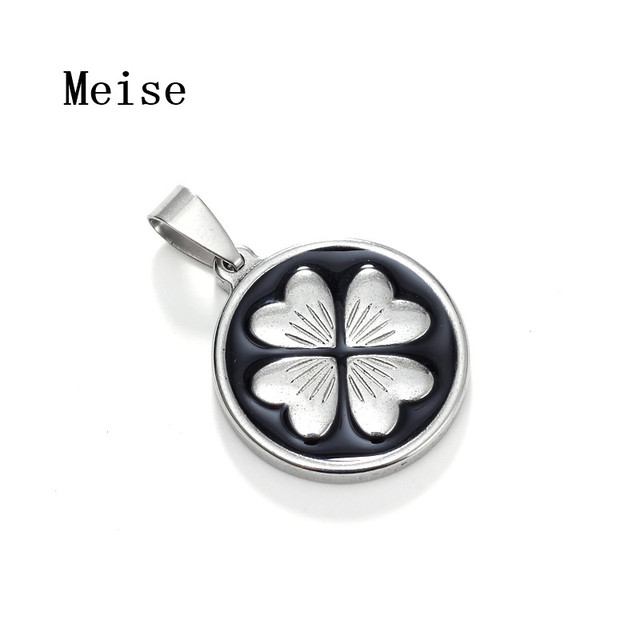Yiwu Meise Stainless Steel Circular Enamel Four Leaf Clover Pendant Necklace