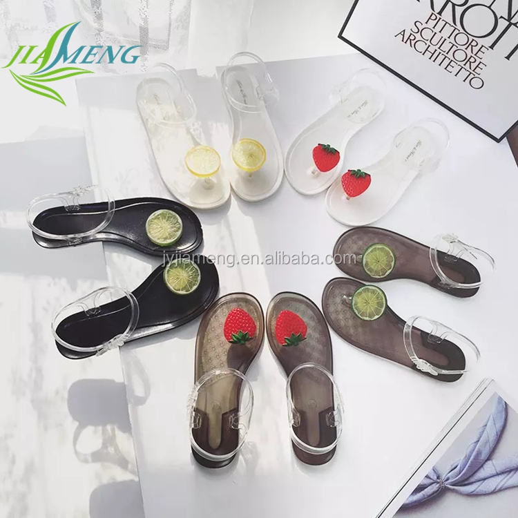 hot selling plastic jelly fruit sandals ladies flat shoes