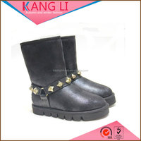 Pretty girls studded round toe suede artificial sheepskin fur boot women shoes
