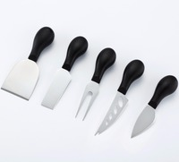 4 Pieces Cheese Tools Kits Including Steel Stainless Cheese Slicer and Cheese Knives with Colors Handle