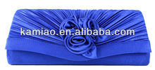 cheap fashion blue satin rose flower evening party bags clutch