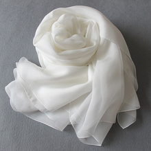 Plain White Silk Chiffon 100% Scarf for Painting