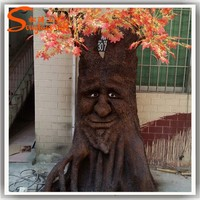 Fiber glass decorative tree stump could be customized any style decorative tree faces