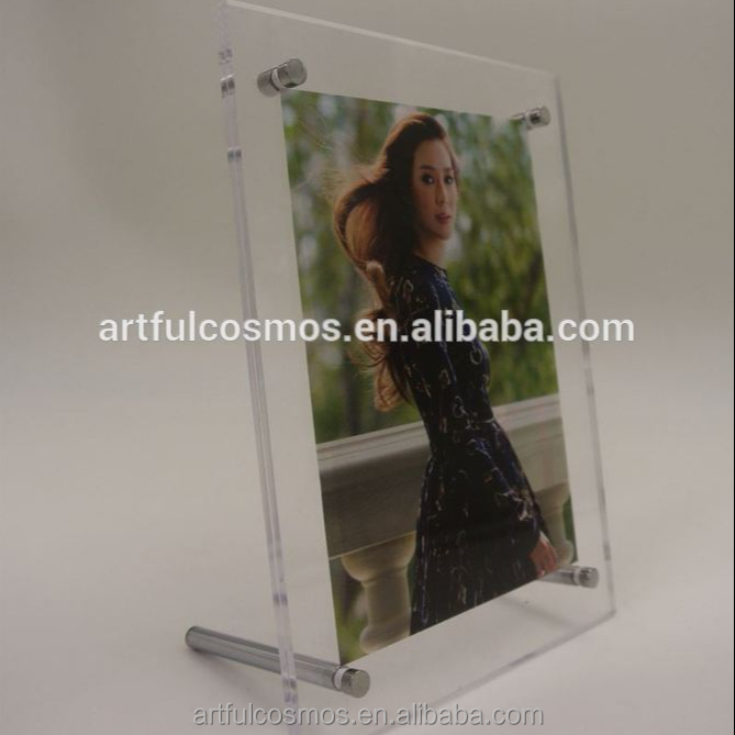 Fashion Red Wood 2D Crystal Led Light Base For Acrylic Photo Frame 4*6 Top Sell Magnetic Acrylic Photo Frame Inches