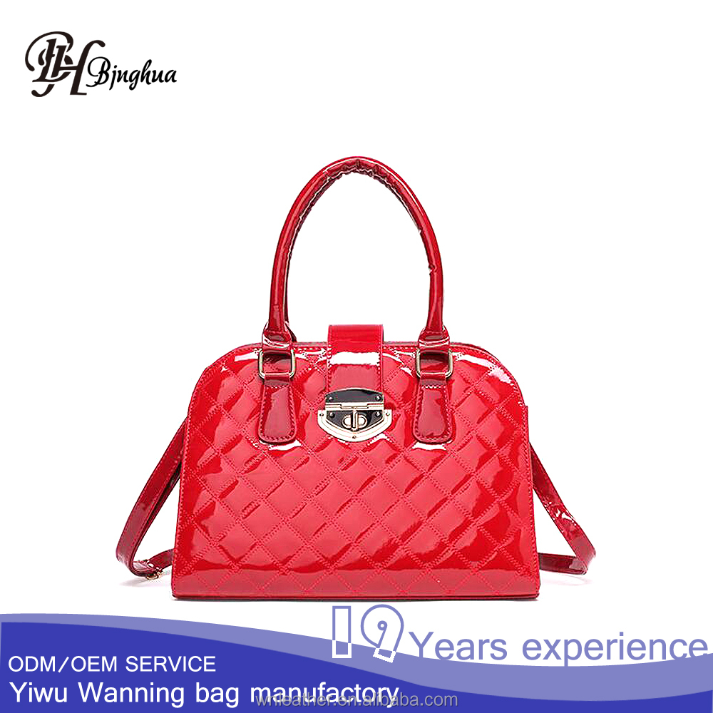 AL-030 Factory price in stock Elegance women patent leather tote bag handbag