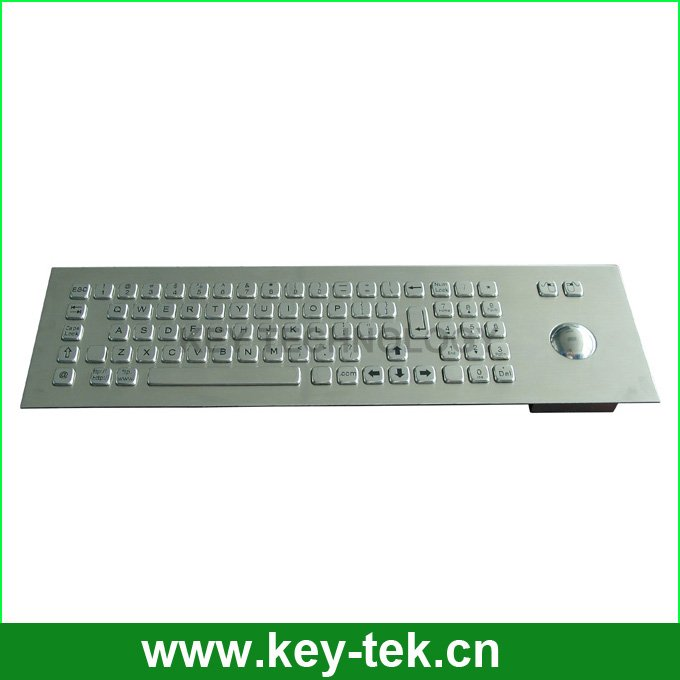Dirtproof industrial movable kiosk metal keyboard with optical trackball for public system