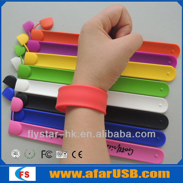 promotion bracelet pen drive 2gb , colorful bracelet usb stick with company logo ,rubber Bracelet Design usb Drive