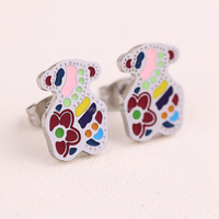 2016 New Fashion Jewelry kids Lovely Stainless Steel unique Stud little bear earring for girls