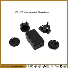 5V 1A 2A standard USB power adapter interchangeable plug adaptors for UK, US ,AU& EU included