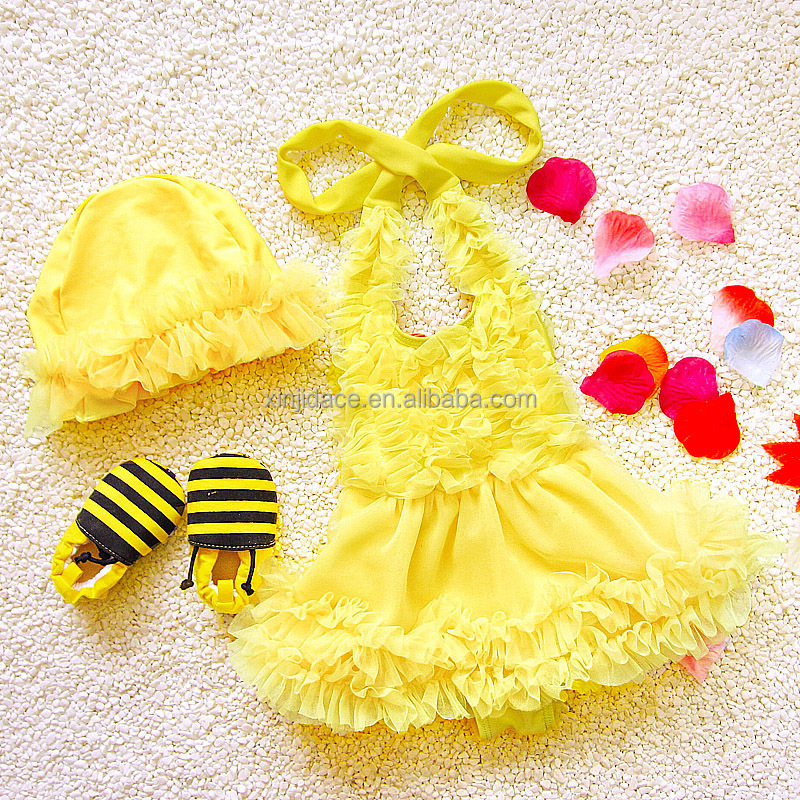 Hanging neck type colorful girl one piece swimwear