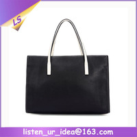Hot Sale Office Lady Fashion Brand Black and White Handbag Purse