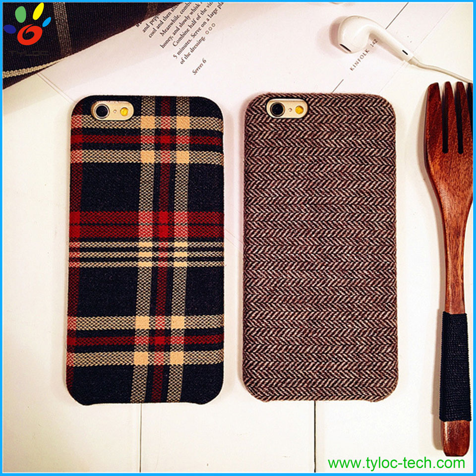 Handmade plaid 4.7 inch mobile phone case leather phone cover case for iphone 6