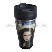 Colorful picture printed double plastic cups / Customized Coffee mugs with lid