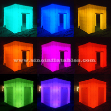 2.5x2.5 mts cube tube LED inflatable photo booth enclosure made in Guangzhou Inflatable factory for sale price