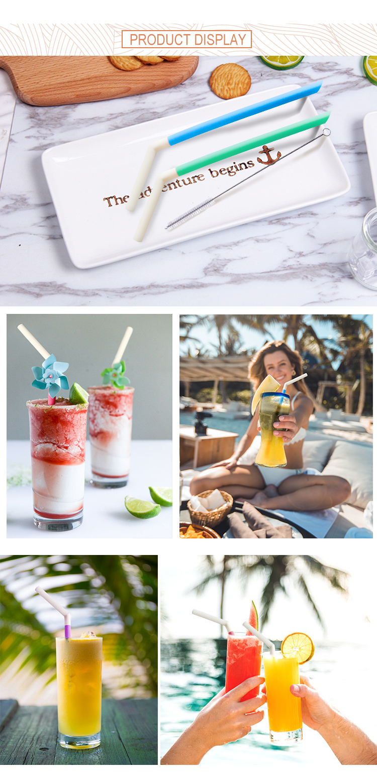 Reusable Silicone Drinking Straws, Extra long Flexible Straws with Cleaning Brushes