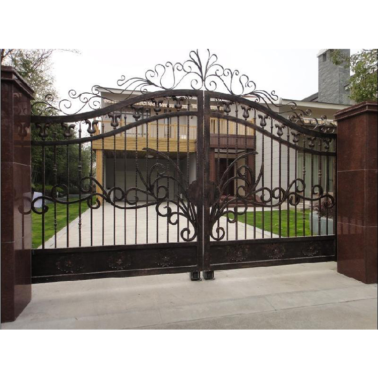 Custom outdoor driveway design with galvanized sheet paints for iron gate