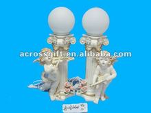 Cupid resin angel solar light with guita