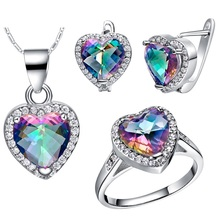 ShangJie Women Silver Plated Brass Metal Heart Shape Jewelry Silver Necklace Set