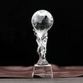 optical crystal world globe award with stand and crystal base