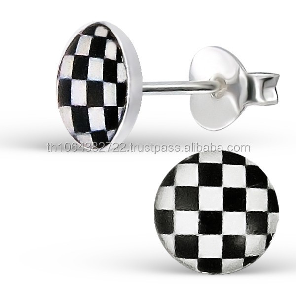 Checker Logo Ear Studs 925 Sterling Silver Body Jewelry Children Women Party Fashion Jewellery