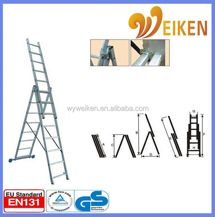 WK-E07 folding aluminum three parts 3 section aluminum extension ladder
