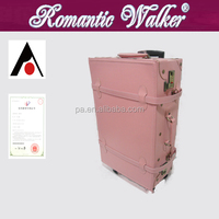 Hand made Pink Classical Luggage PU suitcase Trolley Luggage trolley case