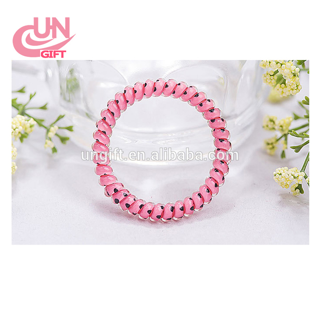 Gradient Rainbow Color Telephone Cord Hair Tie Headwear Hair Accessories