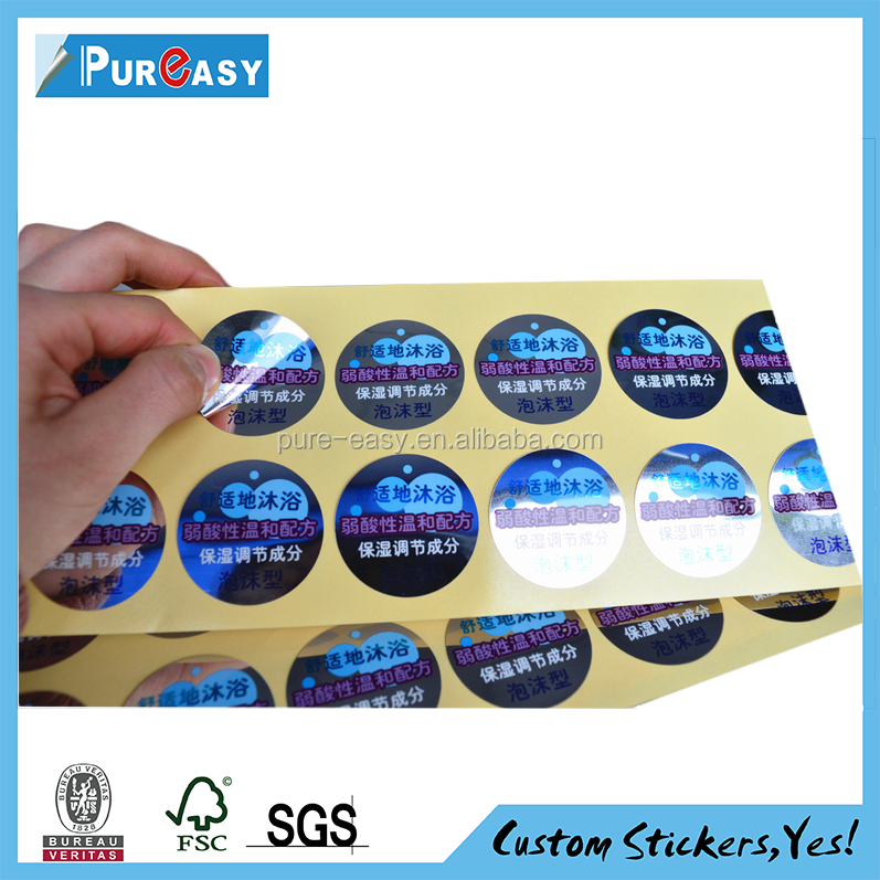 Transparent Adhesive label for cosmetic sealing labels