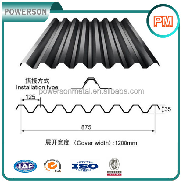 black used corrugated metal roofing sheet/mild carbon steel sheets
