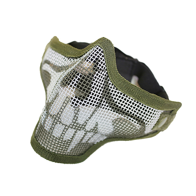 SPINA OPTICS Upgraded Version V2 Double Belt Tactical CS War Game Army Steel Mesh Half Face Mask for Paintball Airsoft