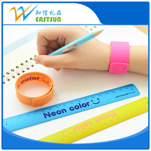 Cheap Custom Silicone Snap Slap Bracelet With Ruler Led Slap Band For Giftware