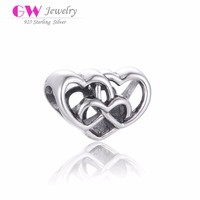 T088 925 Sterling Silver Antique Heart Custom Made Charms Wholesale For European Charm Bracelets