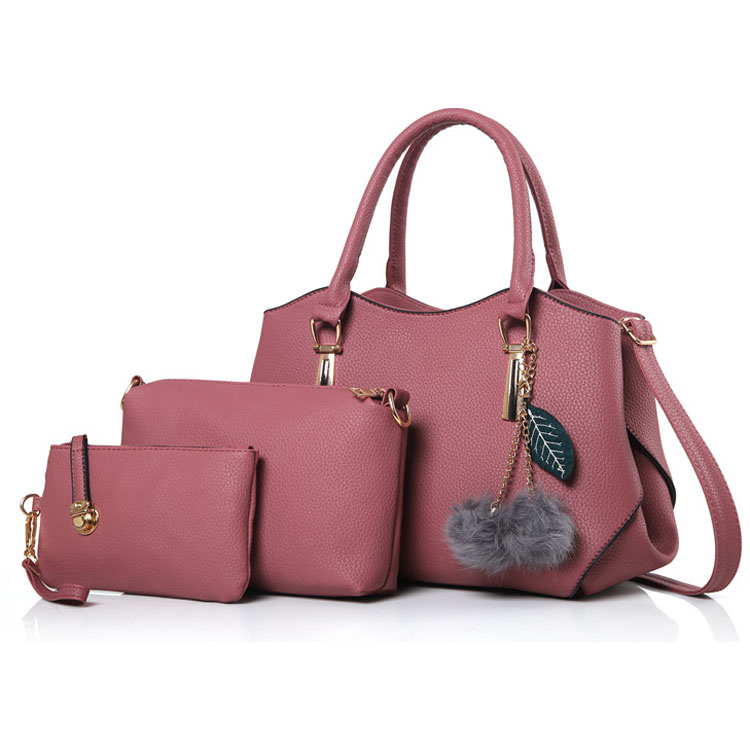 Yiwu Factory Wholesale Hot Selling Cheap Price <strong>Designer</strong> 3pcs In 1 Pom Pom PU Leather Handbags