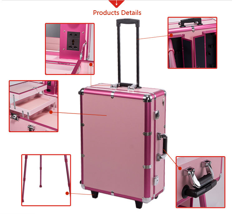 Sunrise Pink Aluminum Rolling Makeup Case With Mirror Professional ...