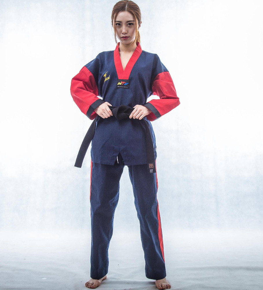 Wholesale Durable WTF Blue Taekwondo Uniform Dobok for Instructor