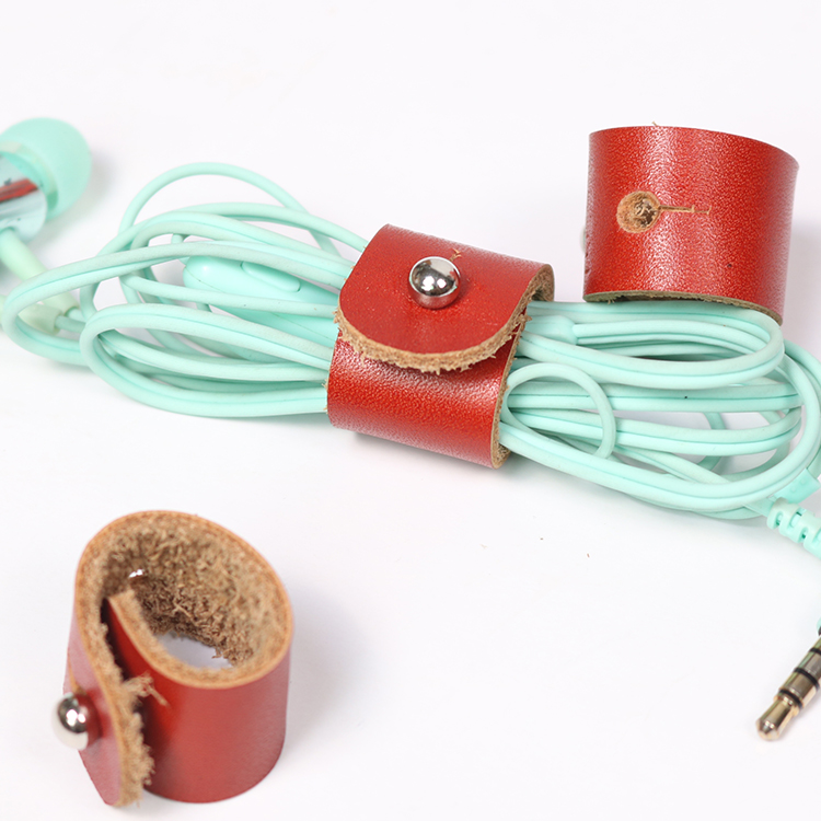 Personlized small leather earphones cable cord holder