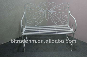 metal white butterfly garden bench