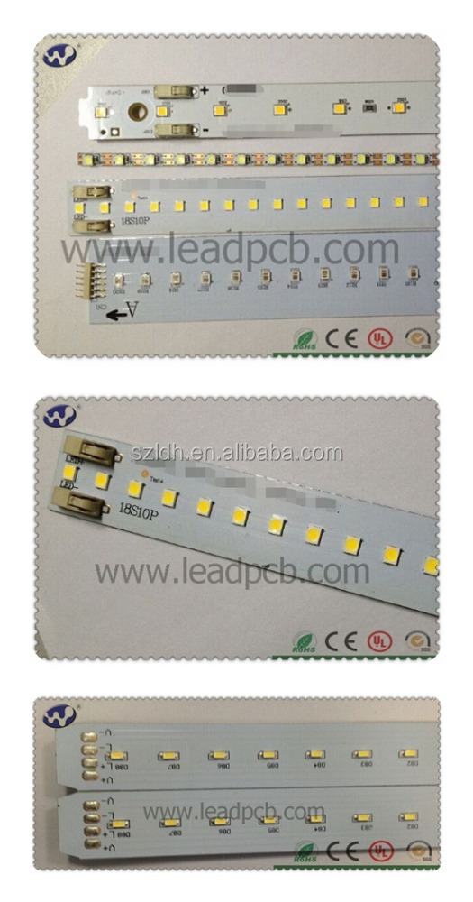 Alu base smt pcb assembly UL listed led strip tube lights pcb 18watt 2835 5630 SMD LED for t8 t5 led pcb 94v0 segway board