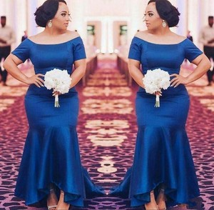 ZH0755X 2019 Plus Size Bridesmaid Dresses Short Sleeves Navy Blue Satin  Mermaid Maid Of Honor Gowns Wedding Guest Prom Dress