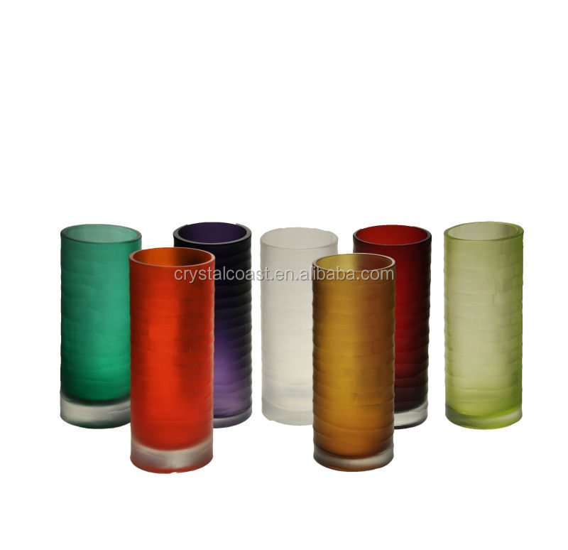simple cylinder cheap wholesale tall colored frosted hand blown glass vases for flower arrangements