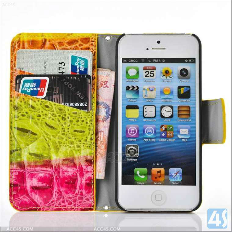 2014 Magnet Buckle Colorful Young Style Wallet Leather Case for iPhone 5C