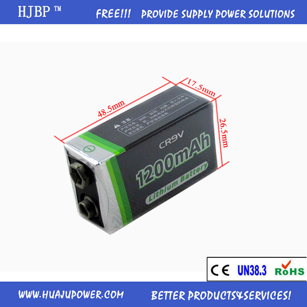 hot sale HJBP DC 9V 1200mAh CR9V non-rechargeable Battery