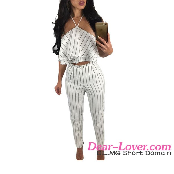 Wholesale Fashion Beautiful White Striped Ruffle Top And Girls Hot Pant Set