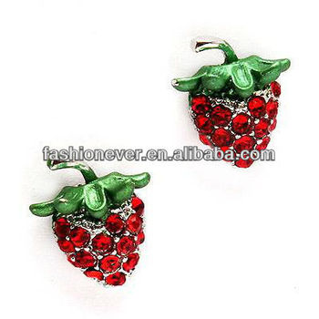 Fun Cute Strawberry Fruit Crystal Rhinestone Small Stud Fashion Earrings Red